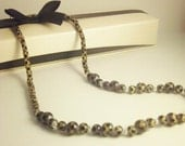 SALE - Leopard Print Necklace with Sterling Silver Spacers and Spring Clasp