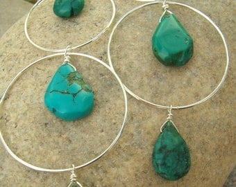 Long Turquoise Earrings - Sterling Silver Hoops - Turquoise Teardrops - Large Hoop Earrings