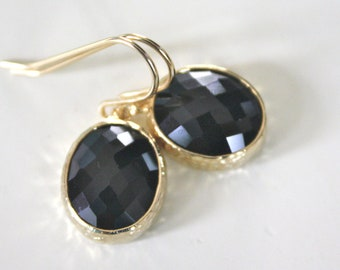 Black and Gold Earrings, Bridesmaids Earrings, Bridal Earrings, Gold Earrings, best friend gifts, gifts for her, christmas gifts