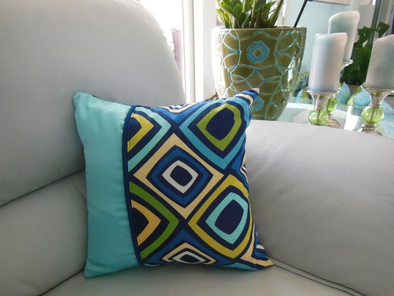 Decorative Pillows For College : College Dorm Decorative Pillows Monaco Blue Mod Diamond