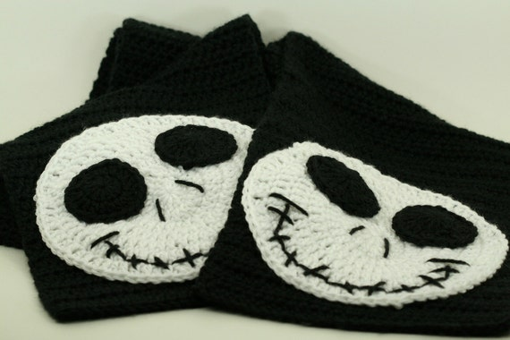 CLEARANCE SALE - Jack Skellington Scarf Nightmare Before Christmas -One Size Only- Black/White - Ready To Ship -Handmade & Crocheted