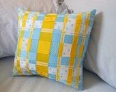 Blue and Yellow, Decorative Woven Ribbon Pillow (Grosgrain Ribbons- Stripes, Polka Dots) -Bedroom/ Livingroom Decor