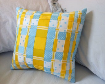 Blue and Yellow, Decorative Woven Ribbon Pillow (Grosgrain Ribbons- Stripes, Polka Dots) -Bedroom/ Livingroom Decor