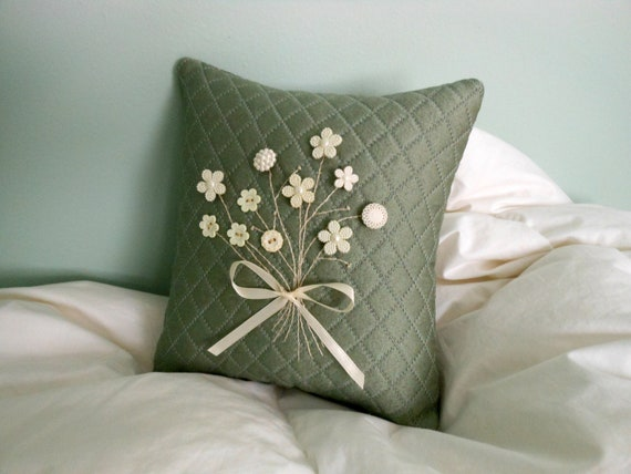 Decorative Pillow -Quilted Gray Pillow with White and Cream Floral Button Posy (Flower Buttons, Bouquet)