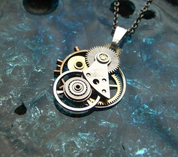 """Clockwork Pendant """"Guardian"""" Intricate Mechanical Watch Gear Necklace Wearable Art Sculpture Steampunk Pendant A Mechanical Mind OOAK"""