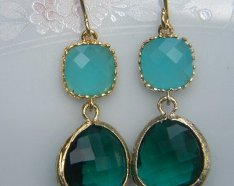 Emerald Green and Aqua Blue Dangle Earrings Trimmed in Gold Bridesmaid Earrings Wedding