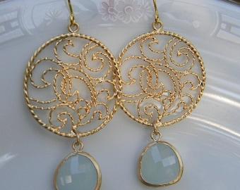 Mint and Gold Filigree Dangle Earrings-Bride-Bridal-Wedding