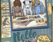Storytime III - HANDMADE Vintage COLLAGE Greeting Card  (Item 134)