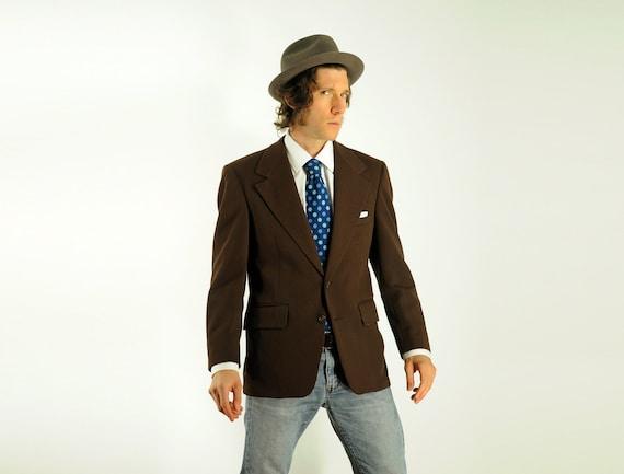 70s mens brown sport coat 1970 chevron waffle texture blazer wide lapel wild lining 40R 40S short