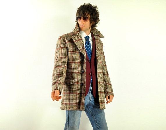 vintage 70s plaid jacket houndstooth tweed 1970 brown tan coat Lakeland medium large 40R 42R Lucky 7