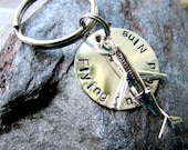 Sterling Silver Travel Personalized Keychain with Airplane - Airplaine Keychain