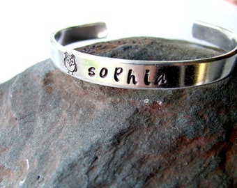Personalized Children's Cuff Bracelet with Owl