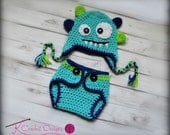 Monster hat-Crochet baby hat-Hat and diaper cover set-Photography prop-boys or girls