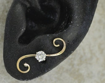 Earring Pin -CZ on Swirling Wire - Gold Filled and Sterling Silver - SINGLE SIDE