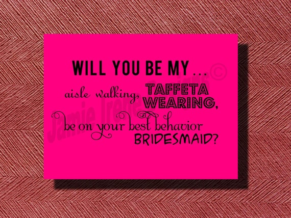 Will You Be My Bridesmaid Card DIY Print-Ready