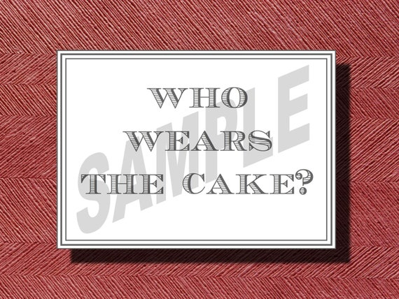 Wedding Reception Who Wears the Cake Signs Set of 3: Honeymoon Money Collection Game