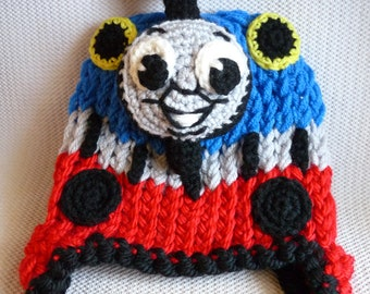 Thomas the Train inspired earflap with braided tassels knit and crochet hat choo choo