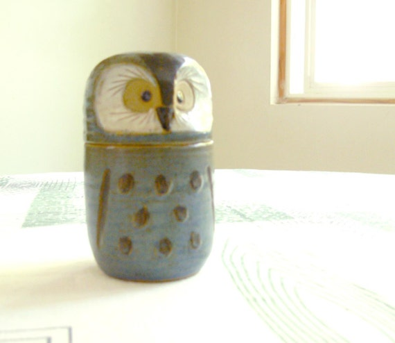 RESERVE FOR ALLY 70s Studio Pottery Ceramic Owl Jar Container - Slate blue - danish modern style