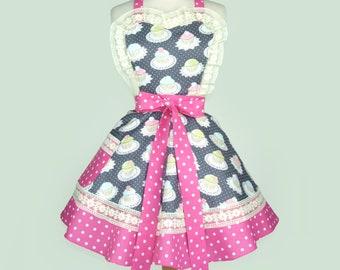 Apron Cupcakes Apron Retro Vintage Inspired polka dots Apron