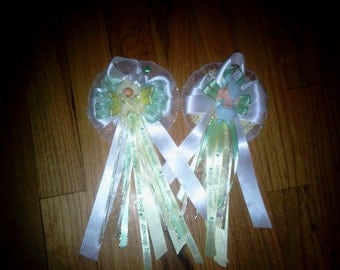 25 Custom personalized baby shower corsages and capias/ pin ons mint green and yellow