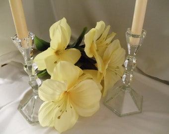 Vintage Crystal Clear Tapered and Hexagon Shaped Candle Holder Set
