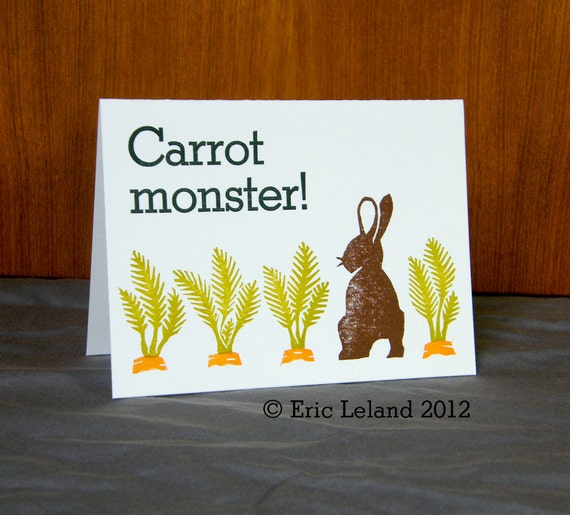 "Set of Five Letterpress Greeting Cards: ""Carrot monster"""