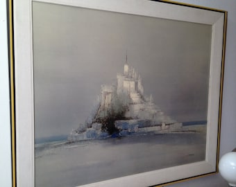 """LARGE Vintage Mid-Century Modern Framed Print """"The Citadel"""" by Turner Wall Accessory"""