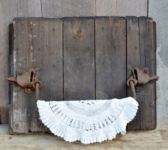 Silo Door Antique Barn Wood Cast Iron Towel Bar Rack Rustic Primitive