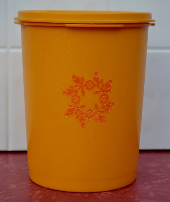 Tupperware Canister Bright Yellow Gold Orange Flowers Servalier