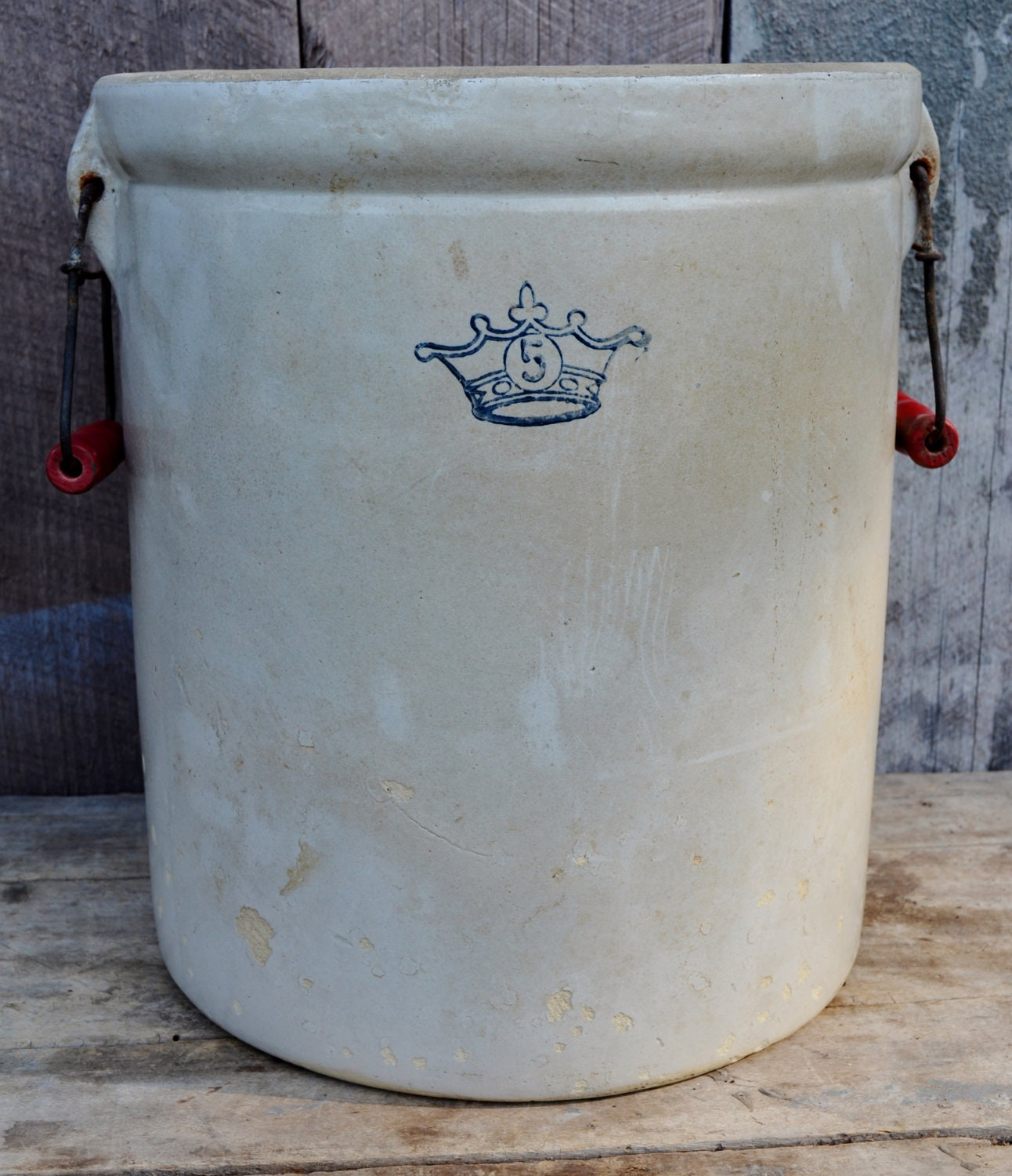 Ransbottom Stoneware Crock 5 Gallon Blue By