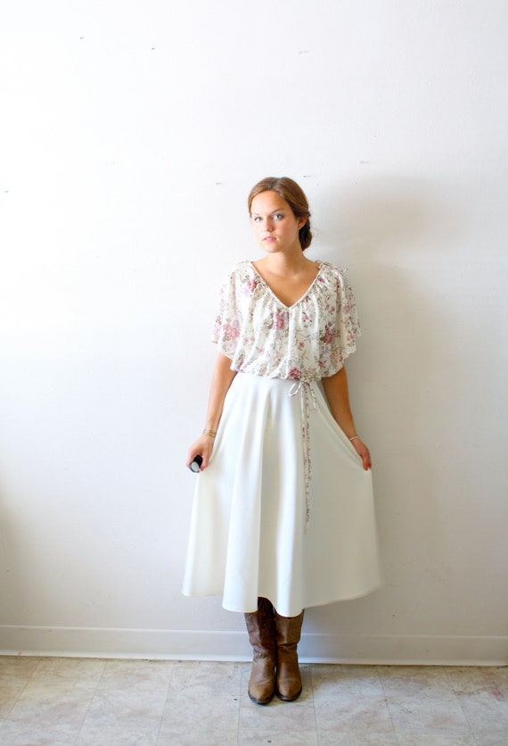 Vintage cream and floral A-line dress