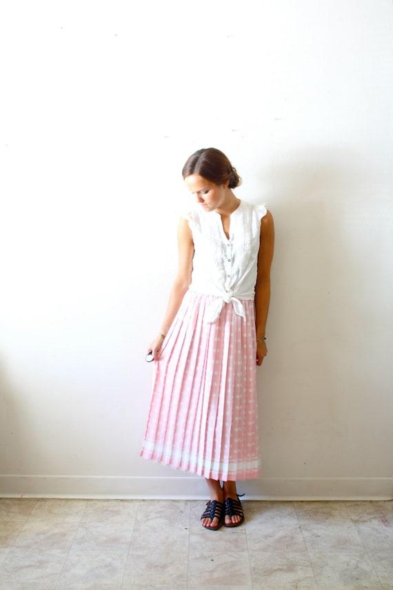 Vintage retro polka dot pink maxi skirt