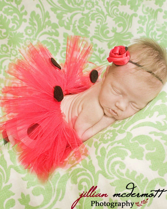 Red Lady Bug. preemie or newborn tutu set. Comes with matching  headband. Made halfway around to make laying more comfortable.