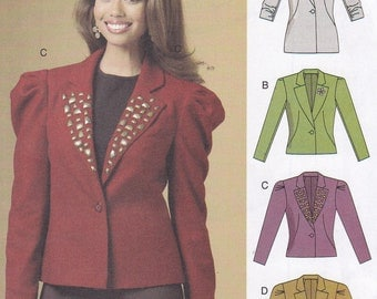 Semi fitted lined jacket multi sized 6 8 10 12 Butterick 5530 OOP new and unused easy to make