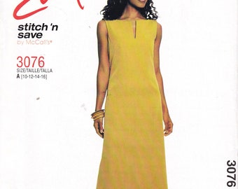 Easy Stitch and Save by McCalls 3076 multi sized 10 12 14 16 dress sewing pattern uncut