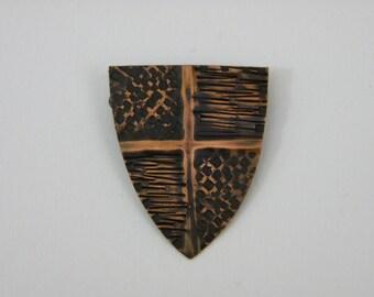Copper Heater Shield Brooch