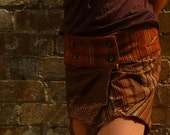 Autumn Colour Recycled Fabric Wrap Mini Skirt/layer