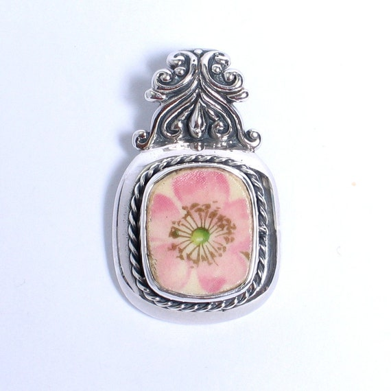 Broken China Jewelry - Antique Pink Fruit Blossom - Sterling Silver Pendant