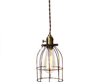 Industrial Caged Minimilist Bare Bulb Pendant Light