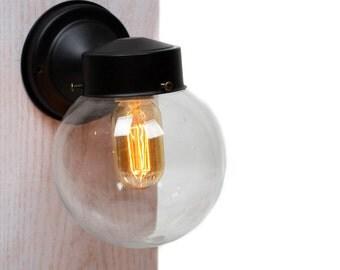Mini Clear Glass Globe Wall Sconce Light