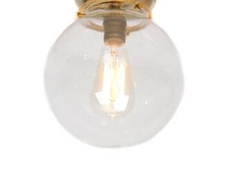 "Flush Mount Brass 8"" Glass Globe Edison Light"