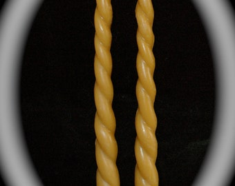 "Pure Beeswax Twisted Rope Candles - 12"" tall candles - Pure Beeswax Twisted Taper Candles - Beeswax Spiral Candles"