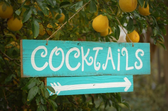 Items Similar To Cocktails Sign Hand Painted Teal Blue