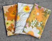 Golds, Oranges, Greens / Vintage Sheet Fat Quarter Bundle