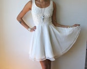 Perfect 90's White Floral Lace and Sheer Layered Mini Dress Sz S