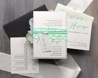 "Elegant Lace Wedding Invitations, Modern Script Wedding Invitations, Mint Green and Gray Wedding Invitations - ""Mint Script"" Deposit"