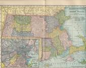 1904 antique color map of Massachusetts & Rhode Island