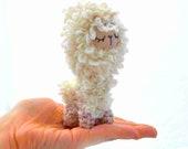 llama lama plush amigurumi felt doll stuffed animal sleepy sleeping cream beige crochet kawaii ready to ship