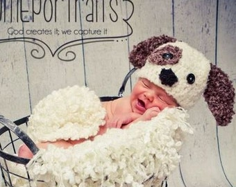 Baby Puppy Crochet Hat-Newborn Photo Prop or Halloween Costume-Choice of 2 color combos