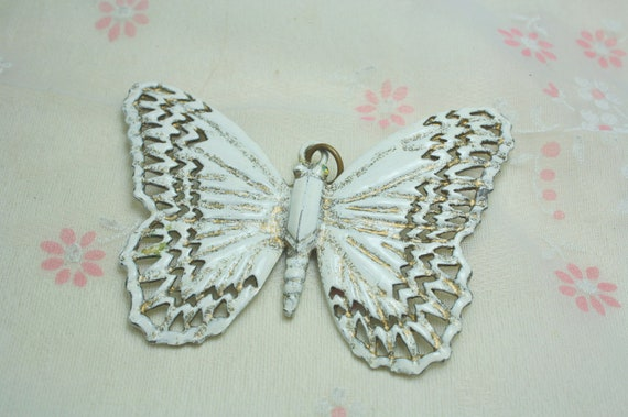 Large Shabby Chic Vintage and Salvaged White Enamel Butterfly Pendant
